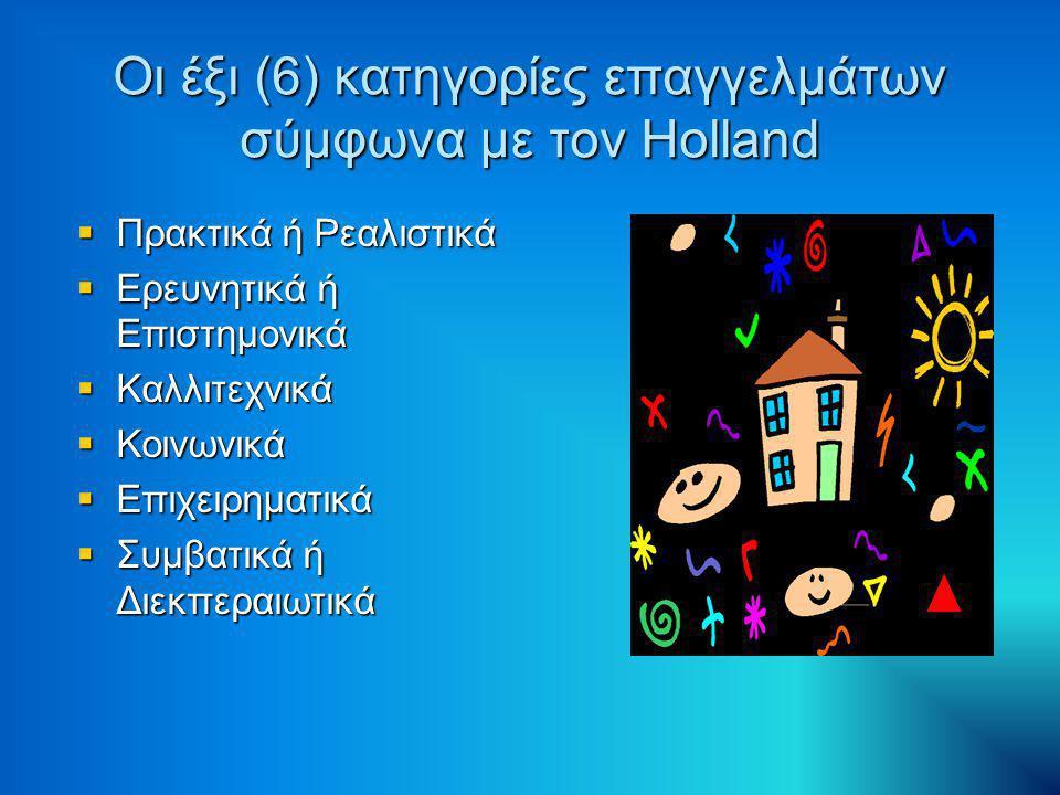 Οι έξι (6) κατηγορίες επαγγελμάτων σύμφωνα με τον Holland