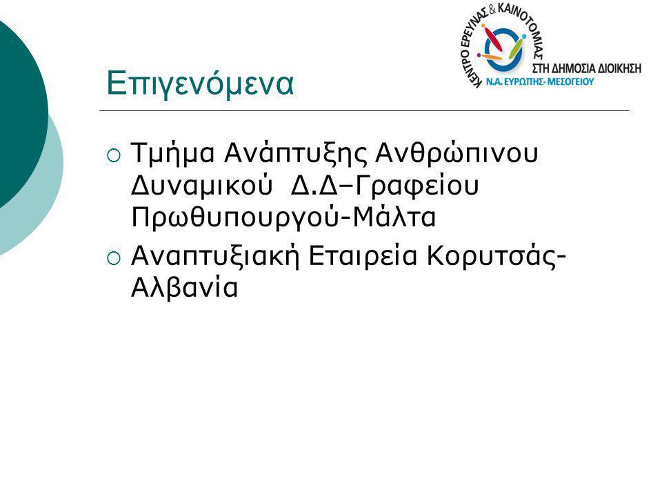 Επιγενόμενα Τμήμα Ανάπτυξης Ανθρώπινου Δυναμικού Δ.Δ–Γραφείου Πρωθυπουργού-Μάλτα.