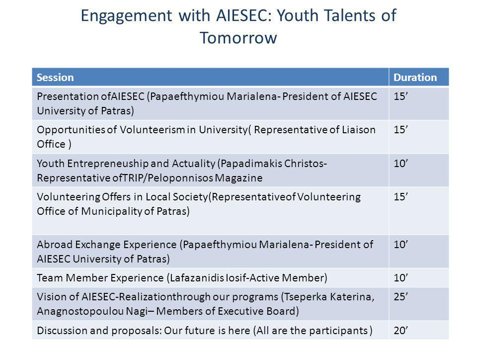 Engagement with AIESEC: Youth Talents of Tomorrow