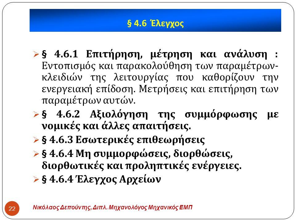 § 4.6.2 Αξιολόγηση της συμμόρφωσης με νομικές και άλλες απαιτήσεις.