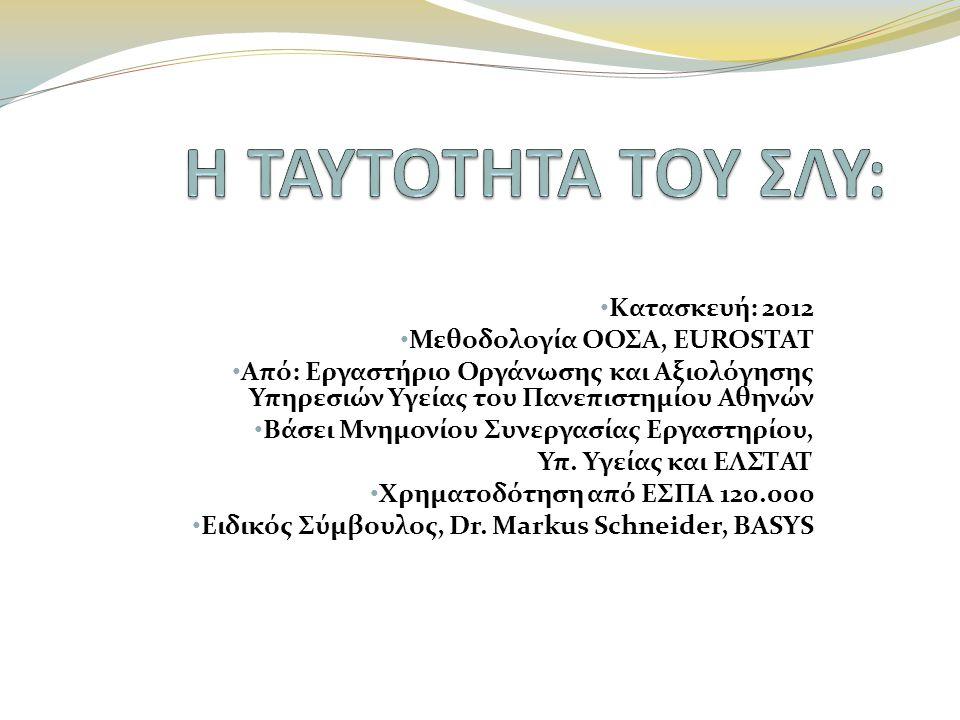 Η ΤΑΥΤΟΤΗΤΑ ΤΟΥ ΣΛΥ: Κατασκευή: 2012 Μεθοδολογία ΟΟΣΑ, EUROSTAT