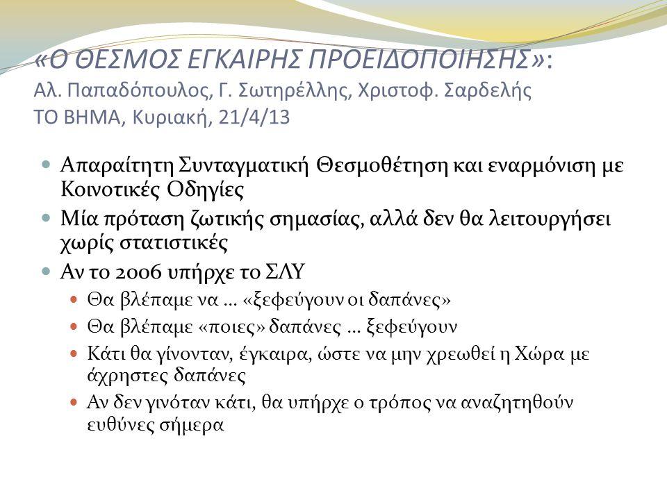 «Ο ΘΕΣΜΟΣ ΕΓΚΑΙΡΗΣ ΠΡΟΕΙΔΟΠΟΙΗΣΗΣ»: Αλ. Παπαδόπουλος, Γ