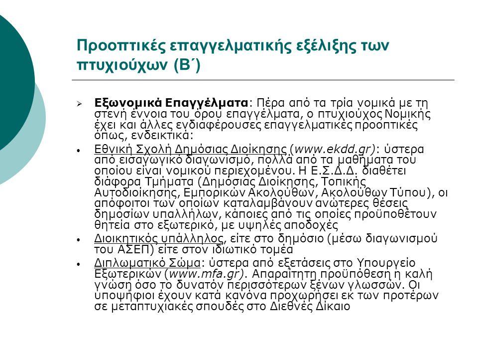 Προοπτικές επαγγελματικής εξέλιξης των πτυχιούχων (Β΄)