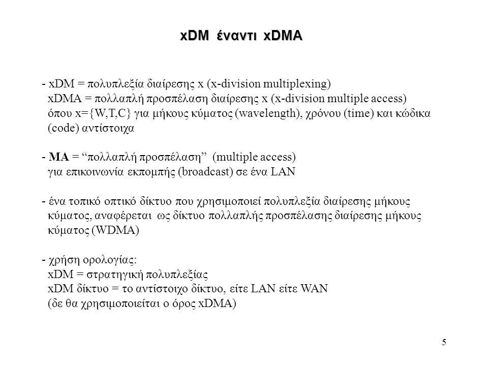 xDM έναντι xDMA xDM = πολυπλεξία διαίρεσης x (x-division multiplexing)