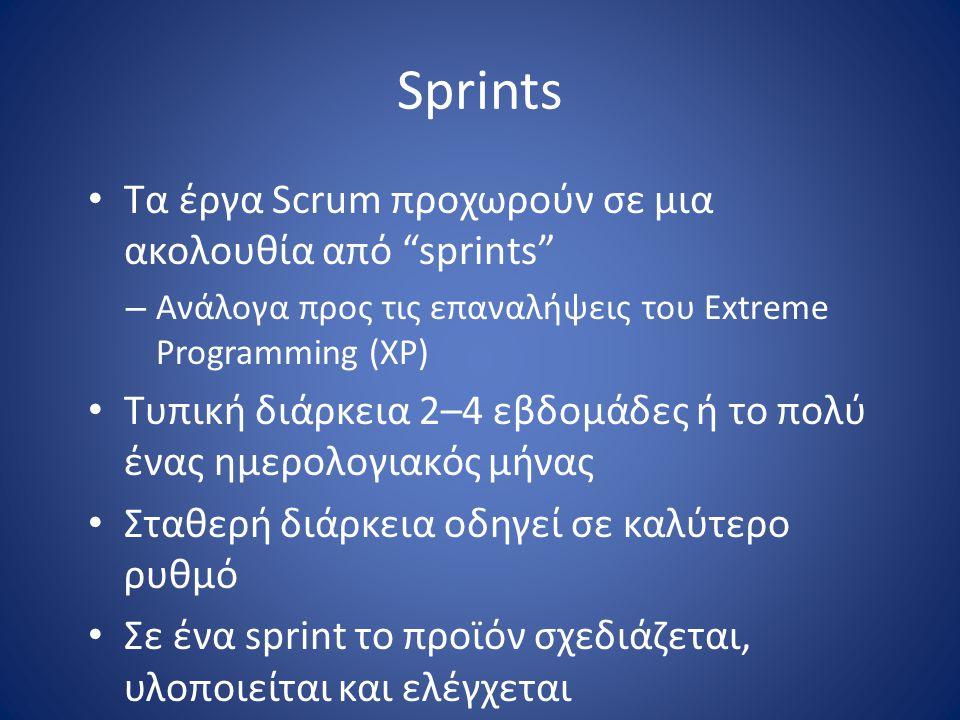 Sprints Τα έργα Scrum προχωρούν σε μια ακολουθία από sprints