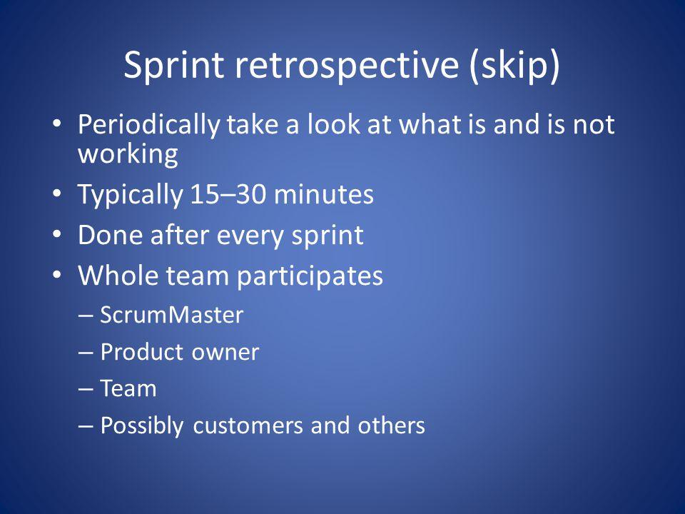 Sprint retrospective (skip)