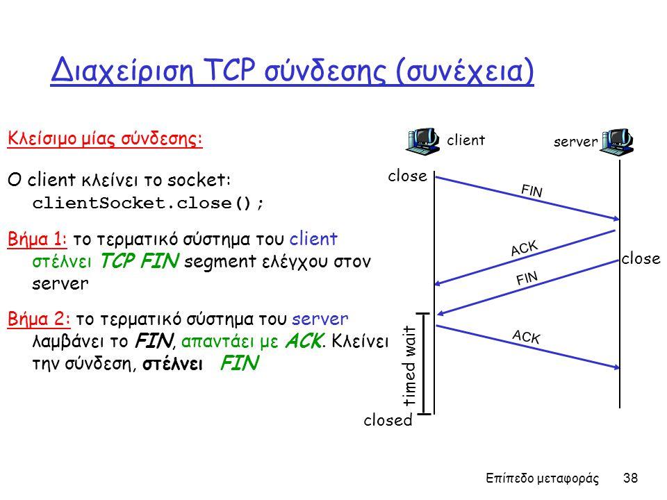 Διαχείριση TCP σύνδεσης (συνέχεια)