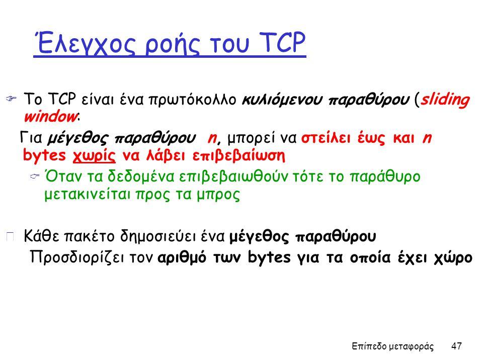 Έλεγχος ροής του TCP Το TCP είναι ένα πρωτόκολλο κυλιόμενου παραθύρου (sliding window: