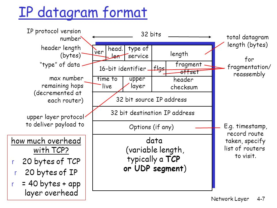 IP datagram format how much overhead with TCP data (variable length,