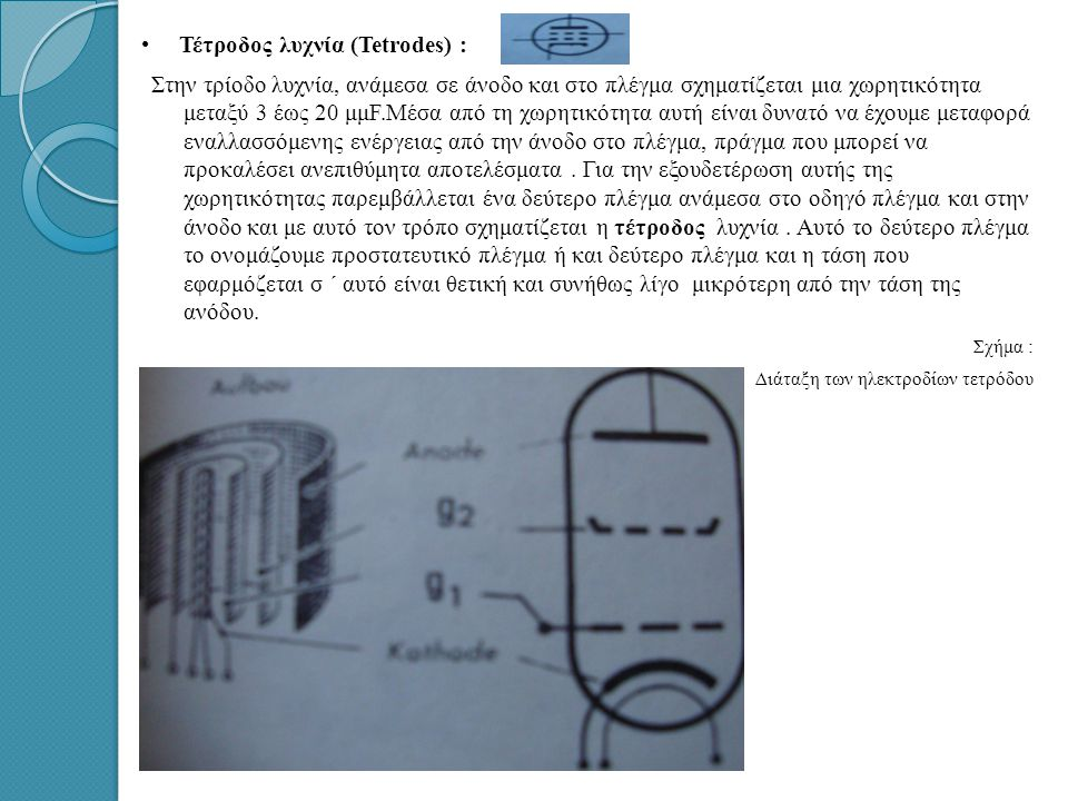 Τέτροδος λυχνία (Tetrodes) :