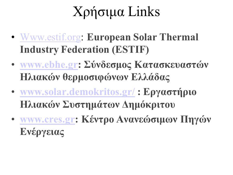 Χρήσιμα Links Www.estif.org: European Solar Thermal Industry Federation (ESTIF) www.ebhe.gr: Σύνδεσμος Κατασκευαστών Ηλιακών θερμοσιφώνων Ελλάδας.