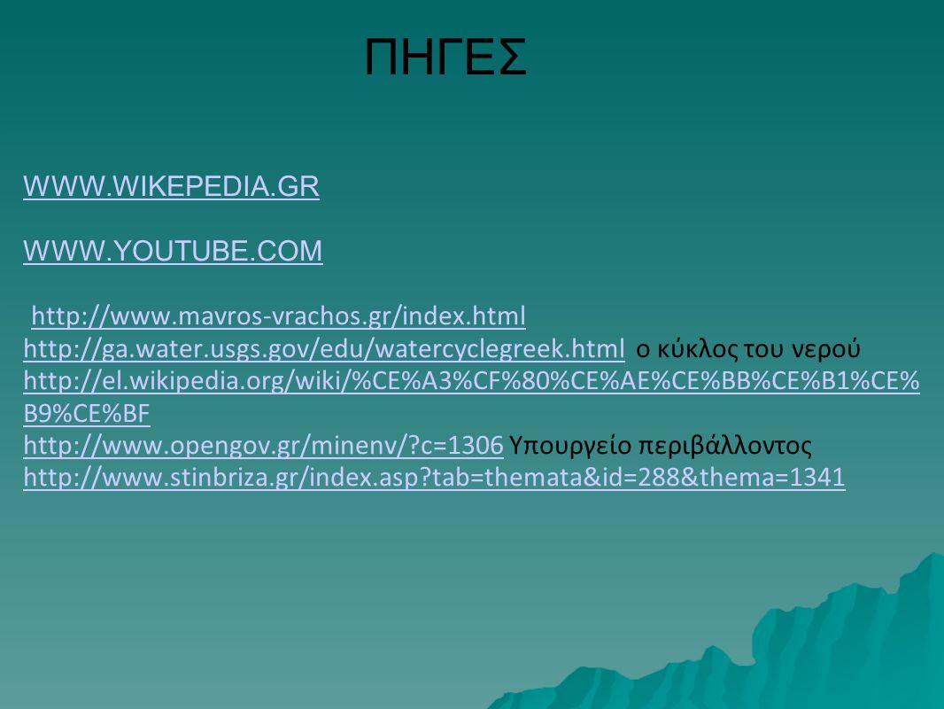 ΠΗΓΕΣ WWW.WIKEPEDIA.GR WWW.YOUTUBE.COM