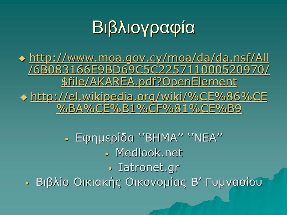 Βιβλιογραφία http://www.moa.gov.cy/moa/da/da.nsf/All/6B083166E9BD69C5C225711000520970/$file/AKAREA.pdf OpenElement.