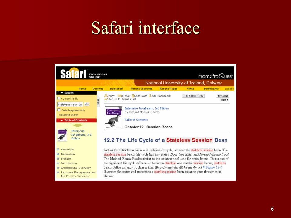 Safari interface