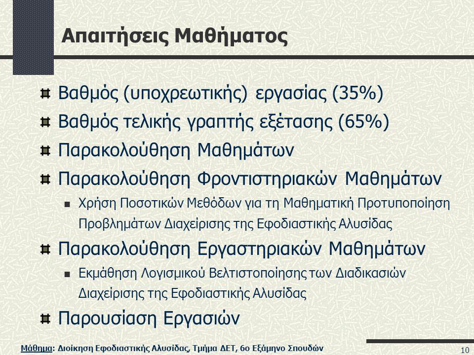 Απαιτήσεις Μαθήματος Βαθμός (υποχρεωτικής) εργασίας (35%)