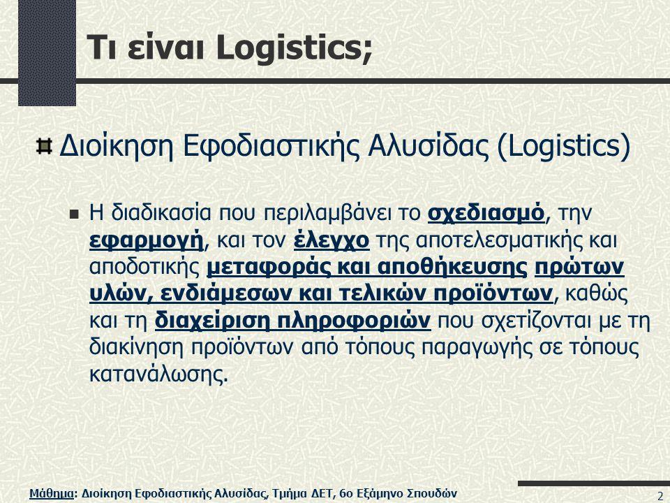 Τι είναι Logistics; Διοίκηση Εφοδιαστικής Αλυσίδας (Logistics)