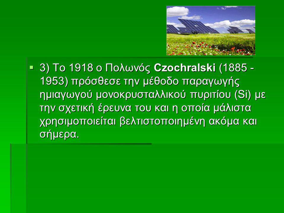 3) Το 1918 ο Πολωνός Czochralski (1885 - 1953) πρόσθεσε την μέθοδο παραγωγής ημιαγωγού μονοκρυσταλλικού πυριτίου (Si) με την σχετική έρευνα του και η οποία μάλιστα χρησιμοποιείται βελτιστοποιημένη ακόμα και σήμερα.