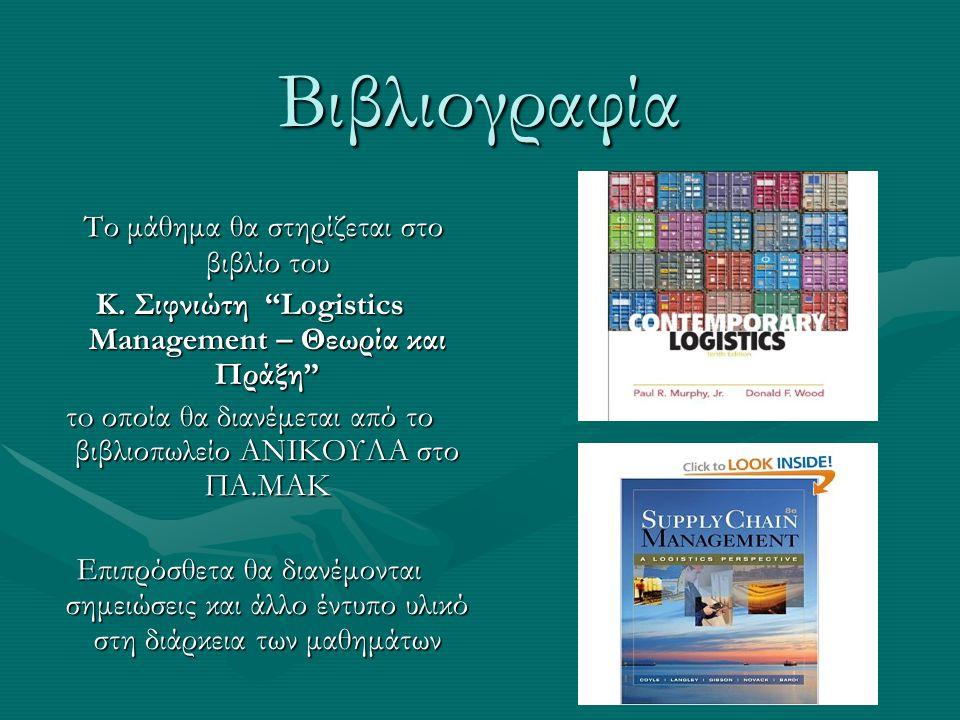 Κ. Σιφνιώτη Logistics Management – Θεωρία και Πράξη