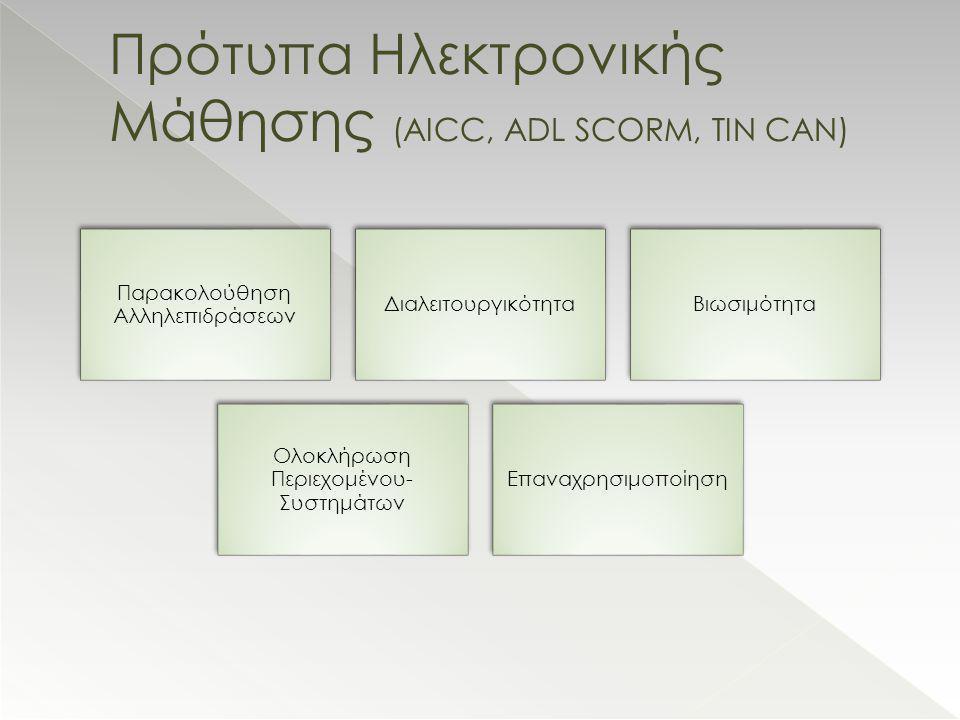 Πρότυπα Ηλεκτρονικής Μάθησης (AICC, ADL SCORM, TIN CAN)