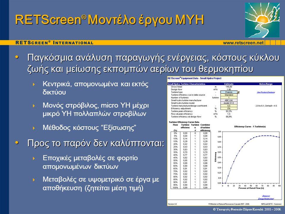 RETScreen® Μοντέλο έργου ΜΥΗ
