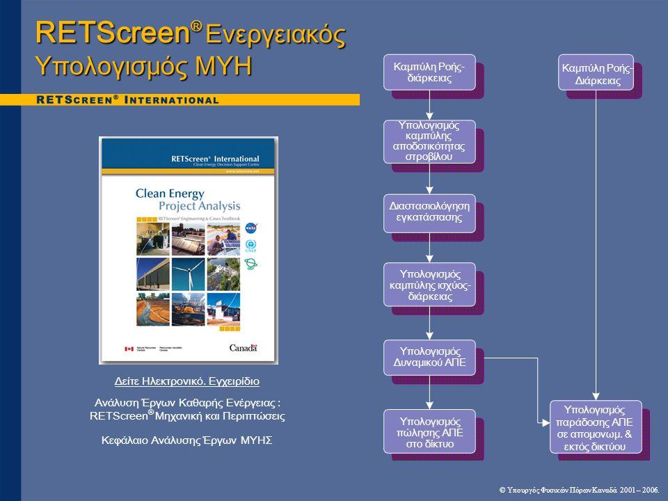RETScreen® Ενεργειακός Υπολογισμός ΜΥΗ