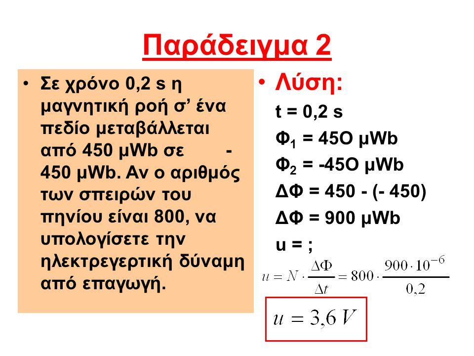 Παράδειγμα 2 Λύση: t = 0,2 s. Φ1 = 45Ο μWb. Φ2 = -45Ο μWb. ΔΦ = 450 - (- 450) ΔΦ = 900 μWb. u = ;