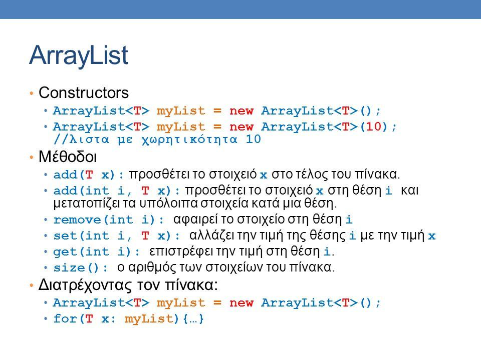 ArrayList Constructors Μέθοδοι Διατρέχοντας τον πίνακα: