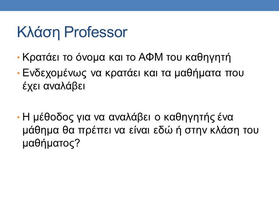 Κλάση Professor Κρατάει το όνομα και το ΑΦΜ του καθηγητή