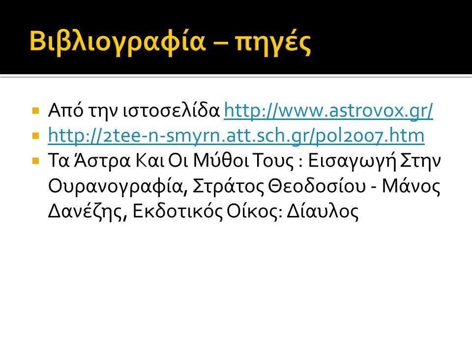 Βιβλιογραφία – πηγές Από την ιστοσελίδα http://www.astrovox.gr/