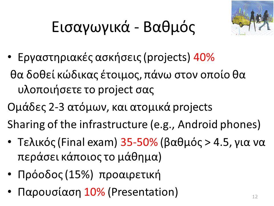 Εισαγωγικά - Βαθμός Εργαστηριακές ασκήσεις (projects) 40%