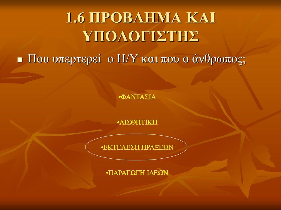 1.6 ΠΡΟΒΛΗΜΑ ΚΑΙ ΥΠΟΛΟΓΙΣΤΗΣ