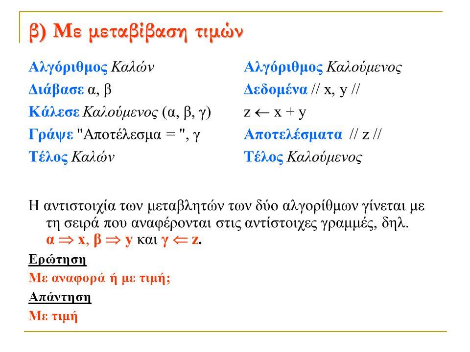 β) Με μεταβίβαση τιμών Αλγόριθμος Καλών Διάβασε α, β Κάλεσε Καλούμενος (α, β, γ) Γράψε Αποτέλεσμα = , γ Τέλος Καλών
