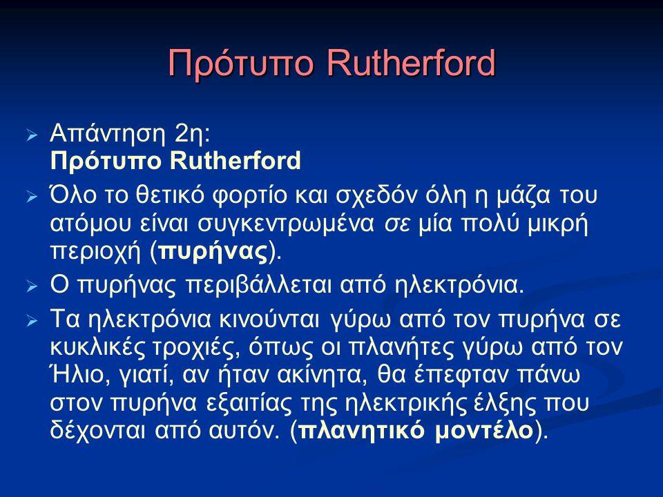 Πρότυπο Rutherford Απάντηση 2η: Πρότυπο Rutherford