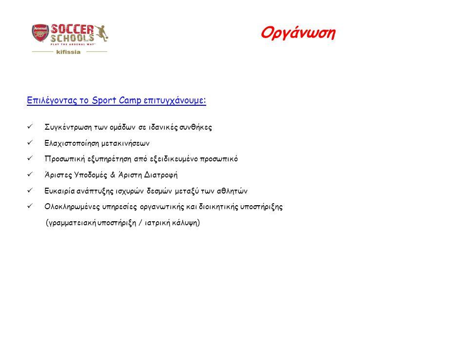 Οργάνωση Επιλέγοντας το Sport Camp επιτυγχάνουμε: