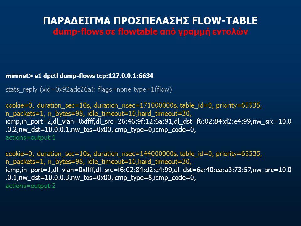 ΠΑΡΑΔΕΙΓΜΑ ΠΡΟΣΠΕΛΑΣΗΣ FLOW-TABLE dump-flows σε flowtable από γραμμή εντολών