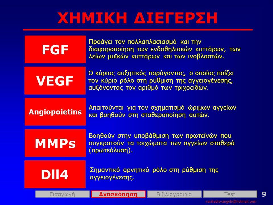 ΧΗΜΙΚΗ ΔΙΕΓΕΡΣΗ FGF VEGF MMPs Dll4 Angiopoietins 9
