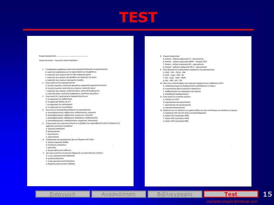 TEST 15 Εισαγωγή Ανασκόπηση Βιβλιογραφία Test