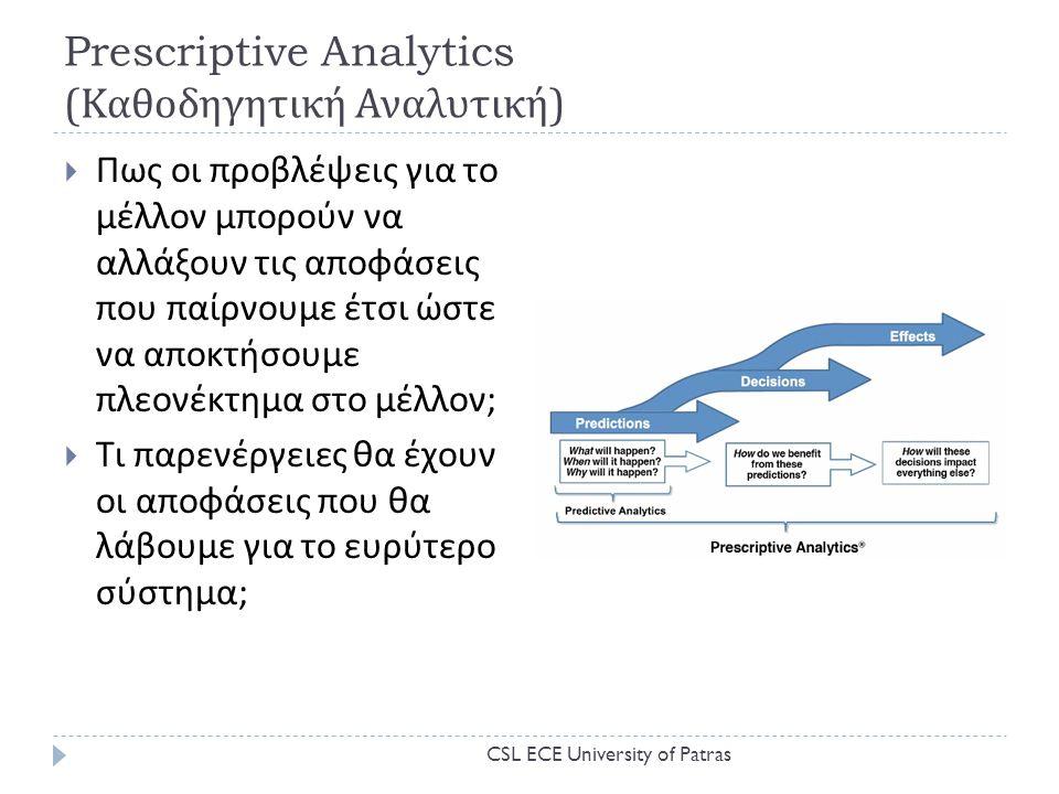 Prescriptive Analytics (Καθοδηγητική Αναλυτική)