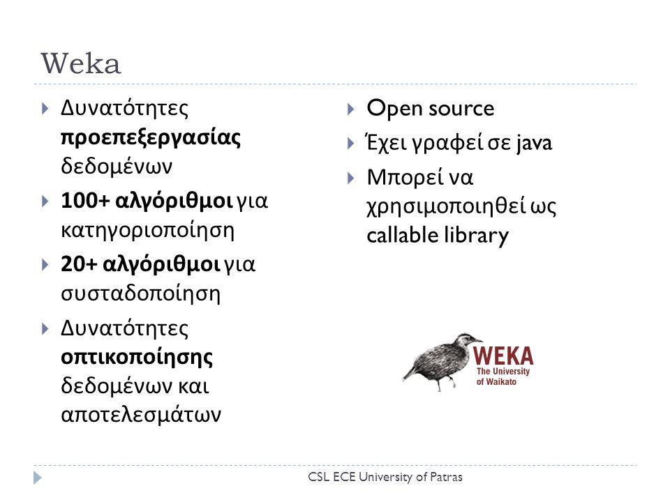 Weka Δυνατότητες προεπεξεργασίας δεδομένων Open source