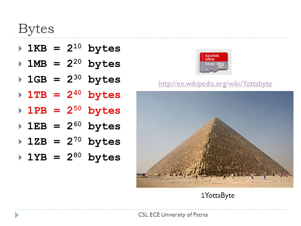 Bytes 1KB = 210 bytes 1MB = 220 bytes 1GB = 230 bytes 1TB = 240 bytes