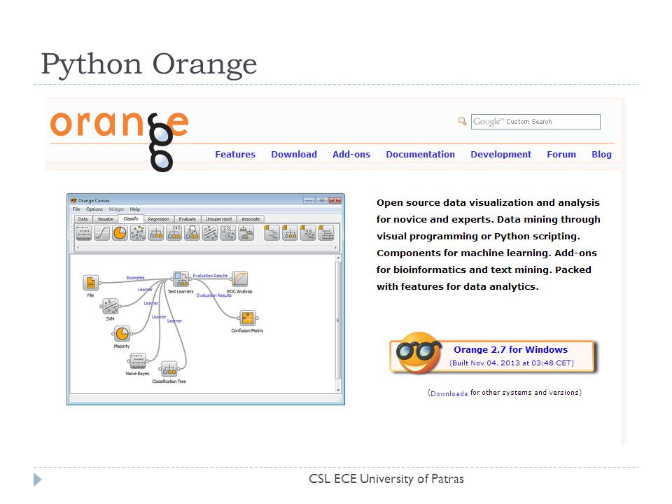 Python Orange CSL ECE University of Patras