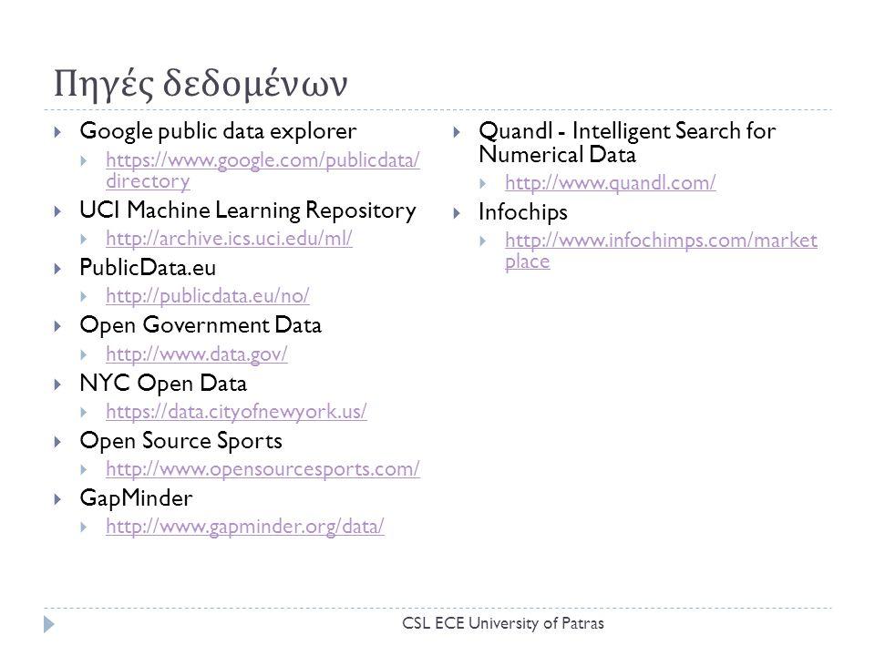 Πηγές δεδομένων Google public data explorer