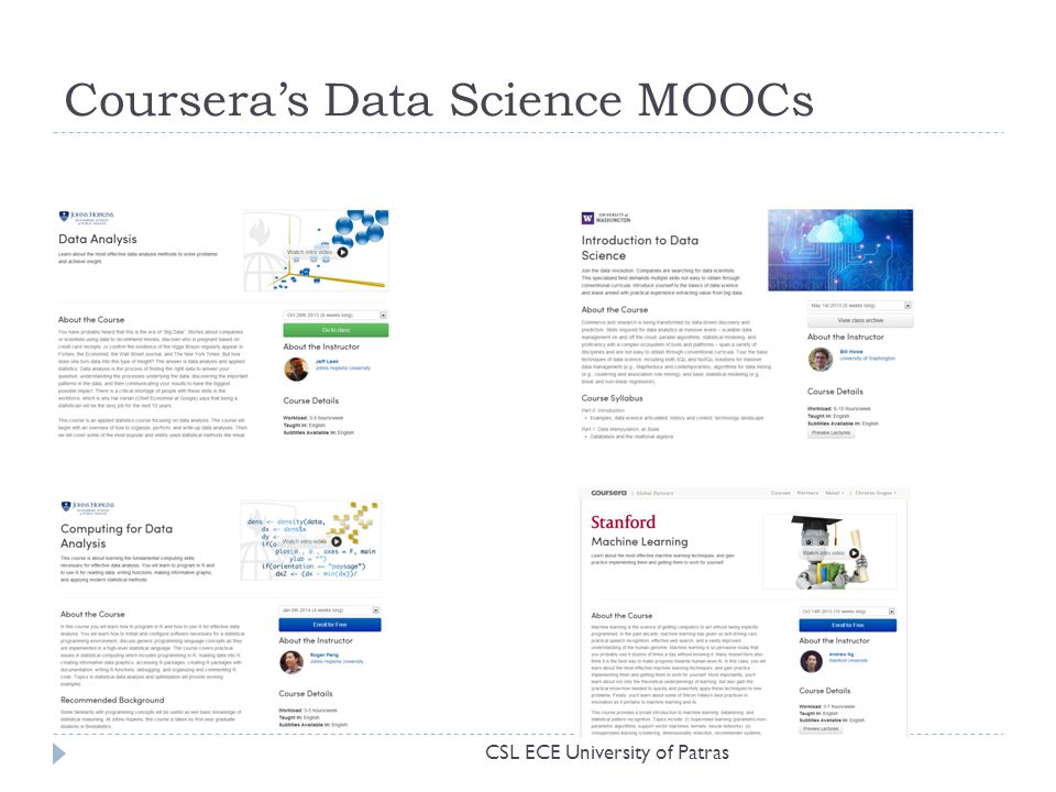 Coursera's Data Science MOOCs