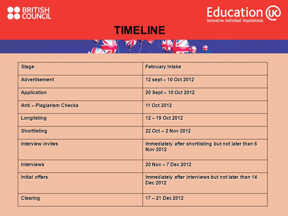 TIMELINE Stage February Intake Advertisement 12 sept – 10 Oct 2012