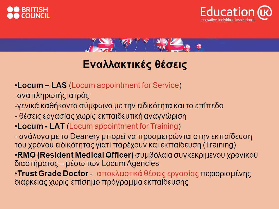 Εναλλακτικές θέσεις Locum – LAS (Locum appointment for Service)