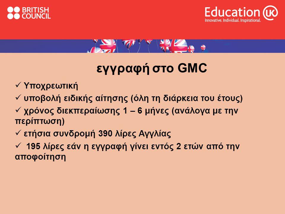 εγγραφή στο GMC Υποχρεωτική