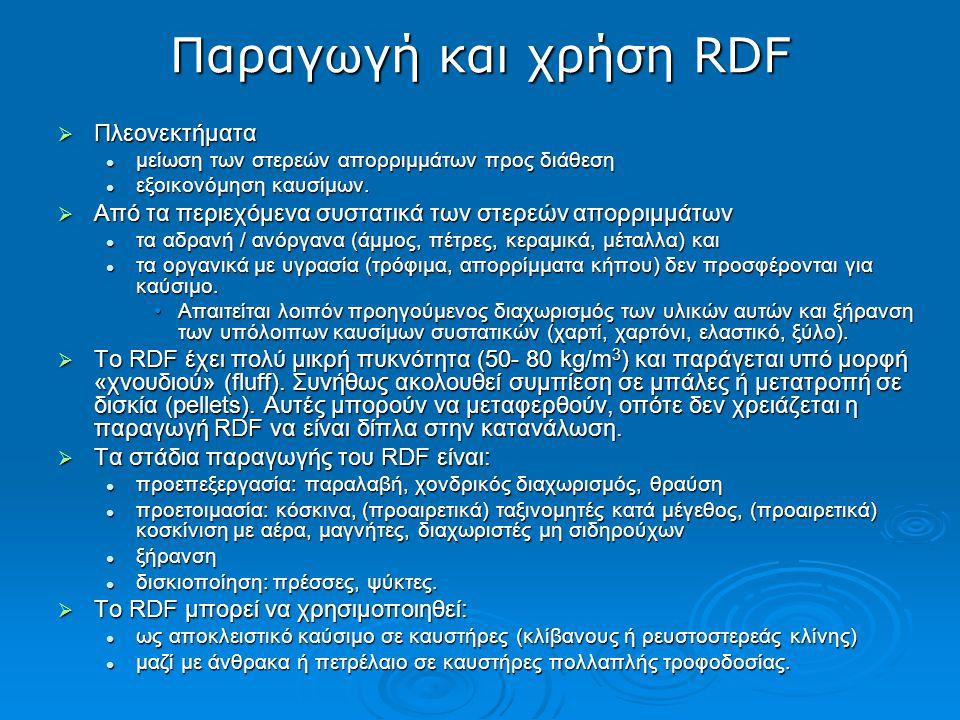 Παραγωγή και χρήση RDF Πλεονεκτήματα