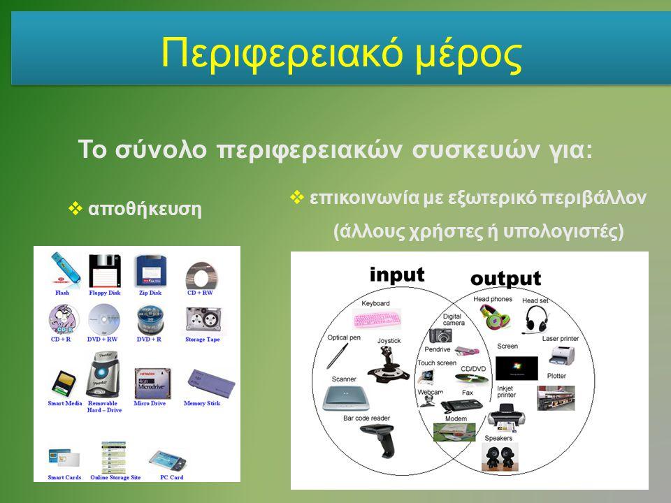 Περιφερειακό μέρος Το σύνολο περιφερειακών συσκευών για: