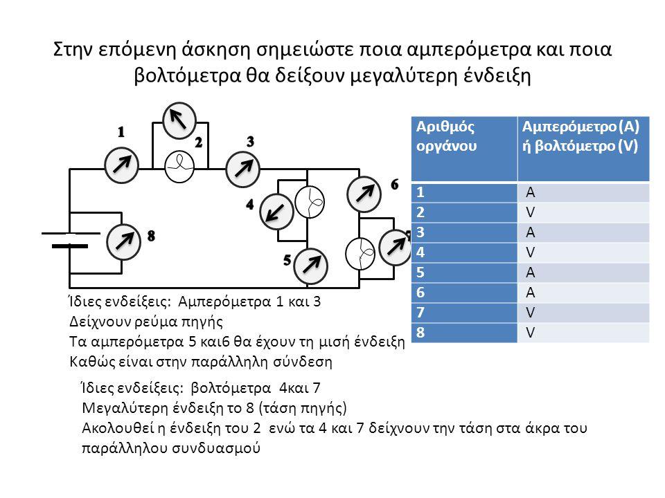 Στην επόμενη άσκηση σημειώστε ποια αμπερόμετρα και ποια βολτόμετρα θα δείξουν μεγαλύτερη ένδειξη