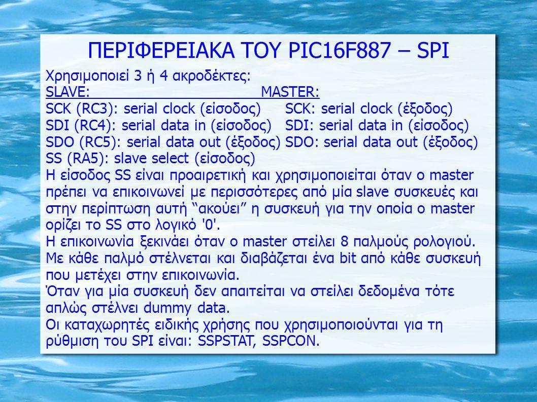 ΠΕΡΙΦΕΡΕΙΑΚΑ ΤΟΥ PIC16F887 – SPI